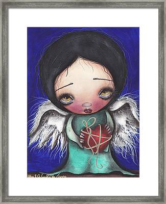 Angel With Heart Framed Print by  Abril Andrade Griffith