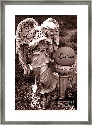 Angel Inspirational Words Believe  Framed Print by Kathy Fornal
