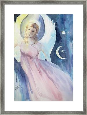 Angel With Moon And Stars Framed Print