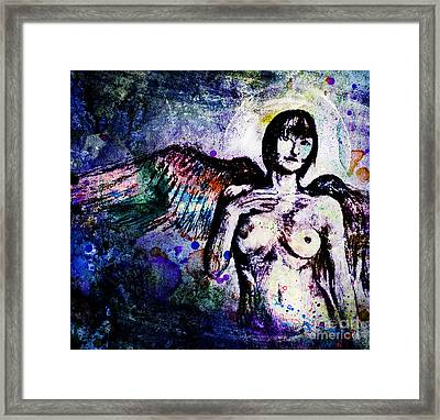 Angel With Rainbow Wings Framed Print by Michael Volpicelli