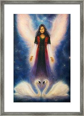 angel woman with radiant wings aboveA beautiful oil painting on canvas of an angel woman with radian Framed Print by Jozef Klopacka