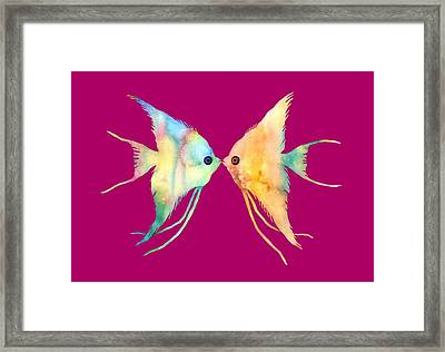 Angelfish Kissing Framed Print