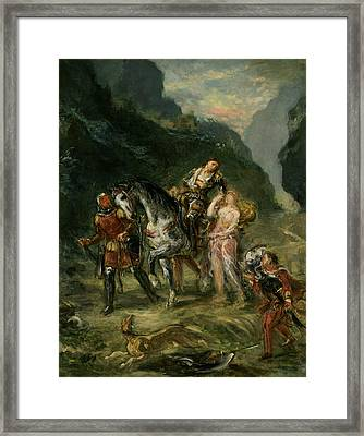 Angelica And The Wounded Medoro  Framed Print by Eugene Delacroix