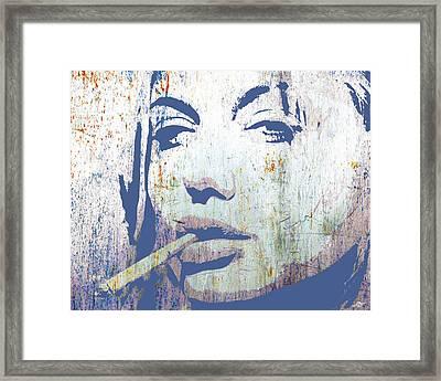 Silver Screen Angelina Jolie Smoking Framed Print