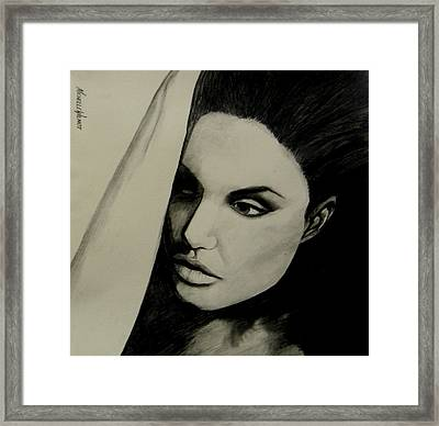 Framed Print featuring the drawing Angelina by Michelle Dallocchio