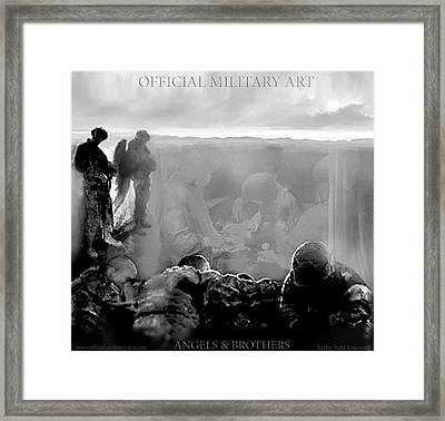 Angels And Brothers Black And White Framed Print