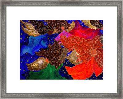Angels In The Night Sky Framed Print by Laura  Grisham