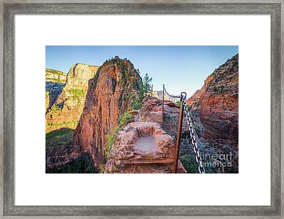 Angels Landing Hiking Trail Framed Print by JR Photography