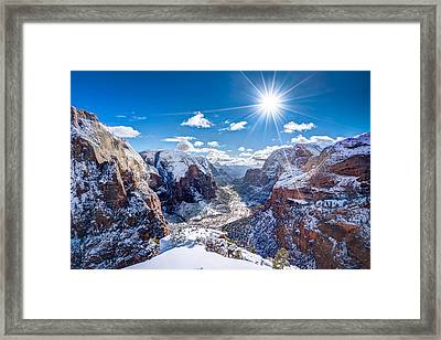 Angels Landing In Winter Framed Print