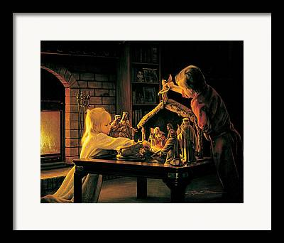 Kids With Nativity Framed Prints