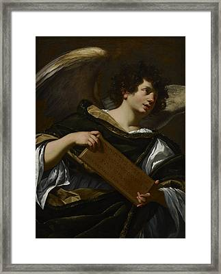 Angels With Attributes Of The Passion, The Superscription From The Cross Framed Print