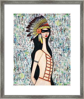 Framed Print featuring the mixed media Angeni by Natalie Briney