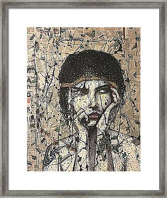 Anger Female Figure Tattoo Vintage Rustic Contemporary Modern Recycled Art Painting  Framed Print by Heather Freitas