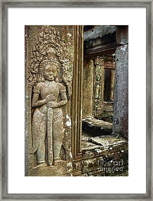 Angkor Wat-ancient Window Framed Print by Linda Parker