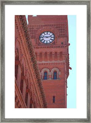 Angled View Of Clocktower At Dearborn Station Chicago Framed Print