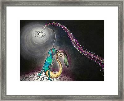 Angler Mermaid Framed Print by Summer Porter