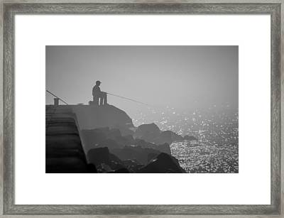 Angling In A Fog  Framed Print by Bill Pevlor