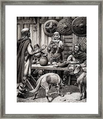 Anglo Saxon Feast Framed Print by Pat Nicolle