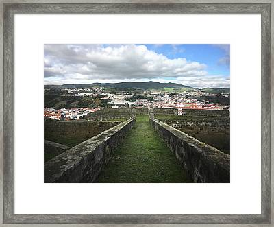 Angra Do Heroismo From The Fortress Of Sao Joao Baptista Framed Print