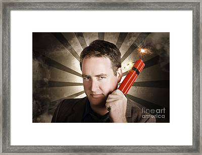 Angry Business Man With Bomb. Work Pressure Framed Print