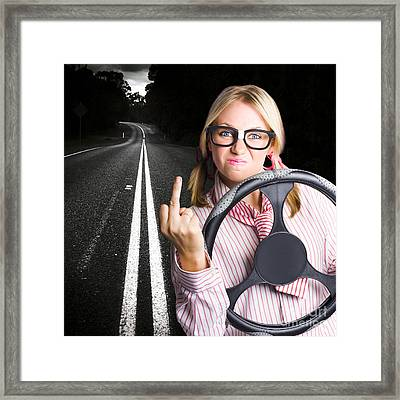 Angry Business Woman Expressing Road Rage Framed Print by Jorgo Photography - Wall Art Gallery