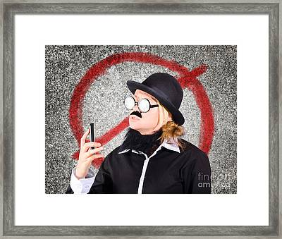 Angry Businessperson With No Mobile Phone Signal Framed Print