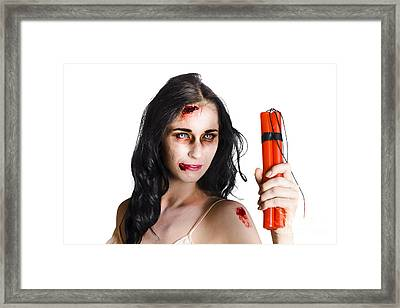 Angry Female Zombie With Dynamite Framed Print by Jorgo Photography - Wall Art Gallery