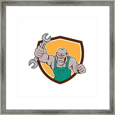 Angry Gorilla Mechanic Spanner Shield Cartoon Framed Print by Aloysius Patrimonio