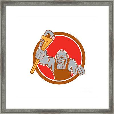 Angry Gorilla Plumber Monkey Wrench Circle Cartoon Framed Print by Aloysius Patrimonio