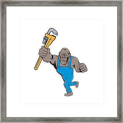 Angry Gorilla Plumber Monkey Wrench Isolated Framed Print by Aloysius Patrimonio
