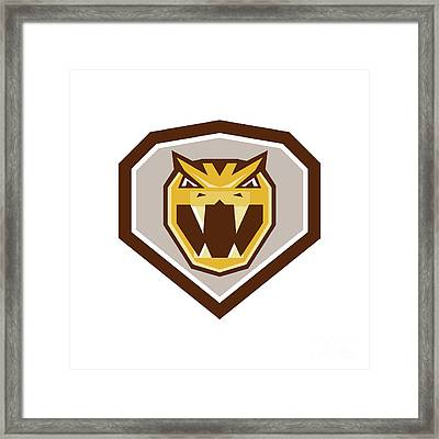 Angry Horned Viper Crest Retro Framed Print by Aloysius Patrimonio