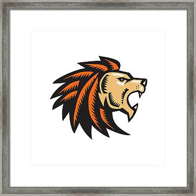 Angry Lion Big Cat Growling Head Woodcut Framed Print by Aloysius Patrimonio