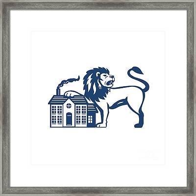 Angry Lion Paw On House Isolated Retro Framed Print by Aloysius Patrimonio