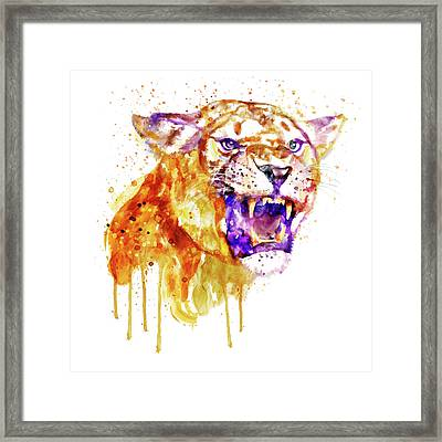 Framed Print featuring the mixed media Angry Lioness by Marian Voicu