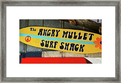 Angry Mullet Surf Board Framed Print by David Lee Thompson