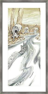 Angry Rat Pursuing Tin Soldier's Paper Boat - Tall Panoramic - Illustration Fragment Framed Print by Elena Abdulaeva