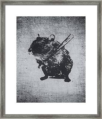 Angry Street Art Mouse  Hamster Baseball Edit  Framed Print by Philipp Rietz
