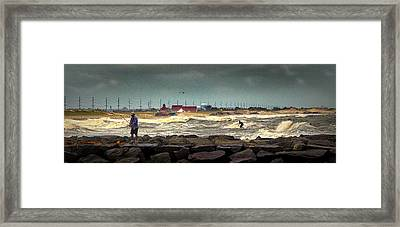 Angry Surf At Indian River Inlet Framed Print