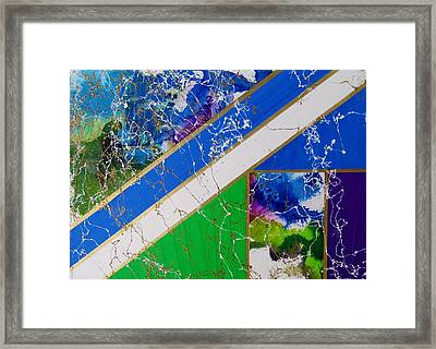 Angular Abstract In Blue Framed Print
