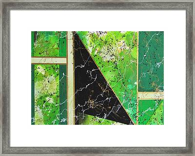 Angular Abstract In Green Framed Print