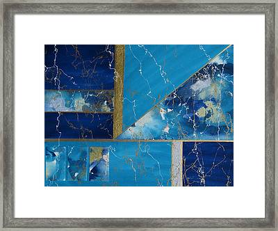 Angular Abstract In Turquoise Framed Print