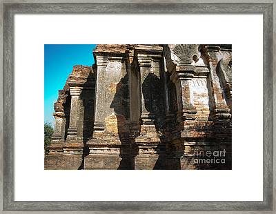 Angular Corner Of Temple In Burma With Sunny Blue Sky Framed Print