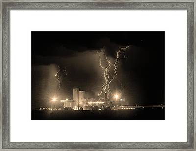 Anheuser-busch On Strikes Black And White Sepia Image Framed Print