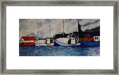 Anholt Denmark Harbor View Framed Print