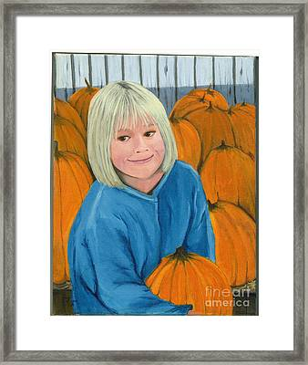 Framed Print featuring the painting Ani In The Pumpkin Patch by Gail Finn
