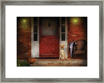 Animal - Dog - Waiting For My Master Framed Print by Mike Savad