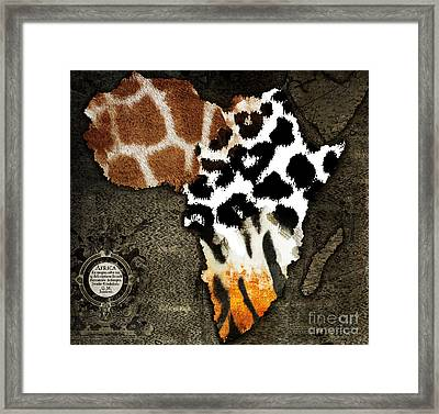 Animal Fur Map Of Africa Framed Print by Mindy Sommers