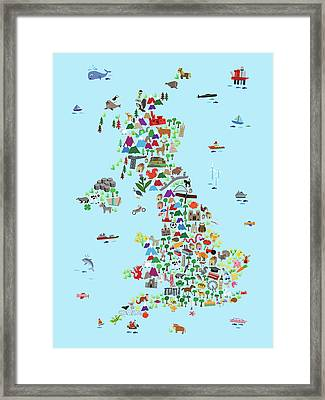 Animal Map Of Great Britain And Ni For Children And Kids Framed Print