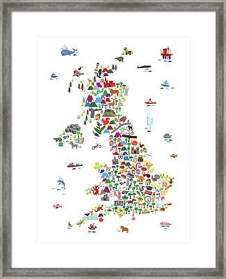 Animal Map Of Great Britain For Children And Kids Framed Print