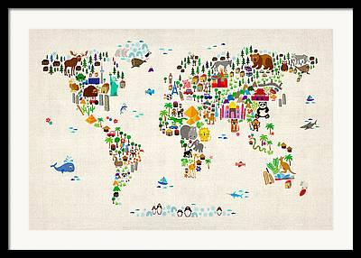 Fun Map Framed Prints